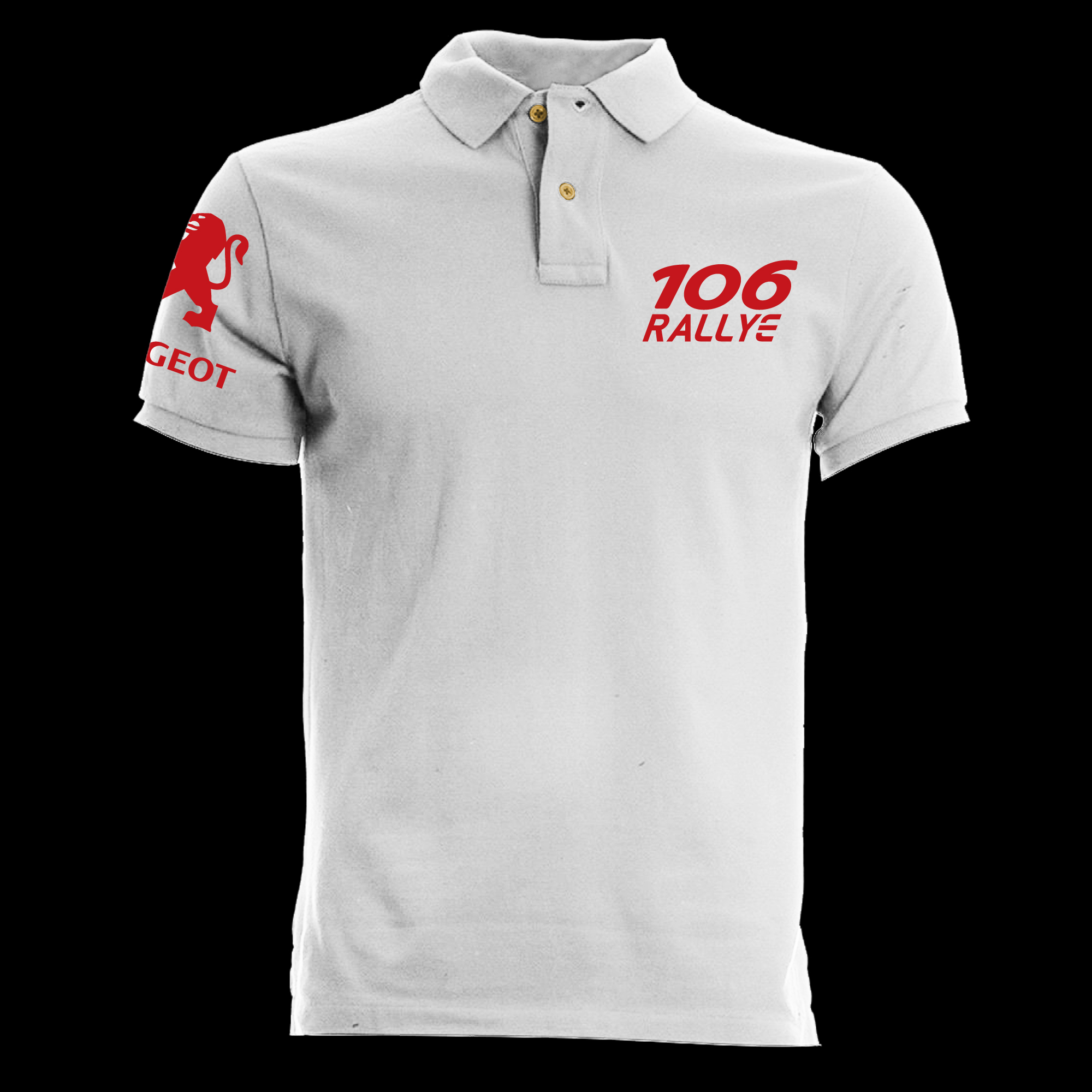 t shirt polo white peugeot 106 rallye france car old motor fashion ebay. Black Bedroom Furniture Sets. Home Design Ideas