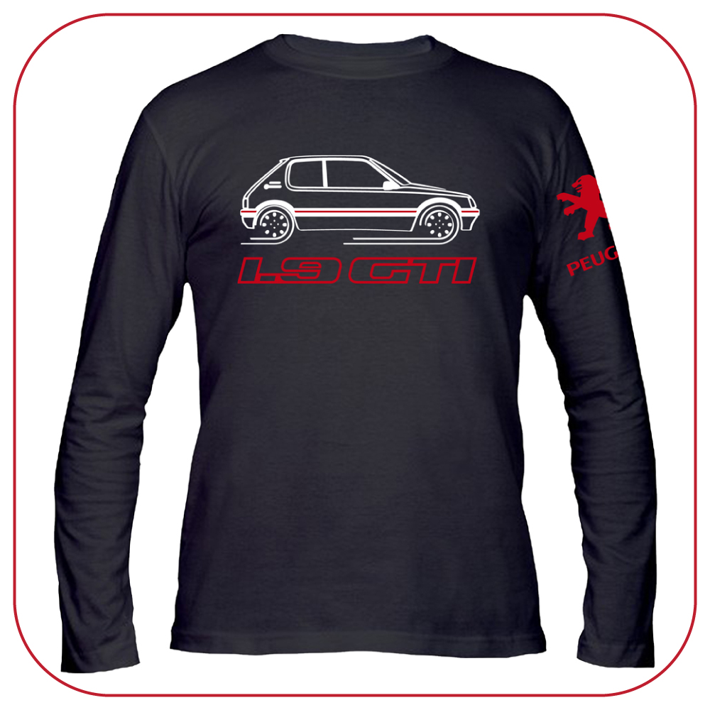 t shirt peugeot 205 1 9 gti old fashion motor france car black long sleeve ebay. Black Bedroom Furniture Sets. Home Design Ideas