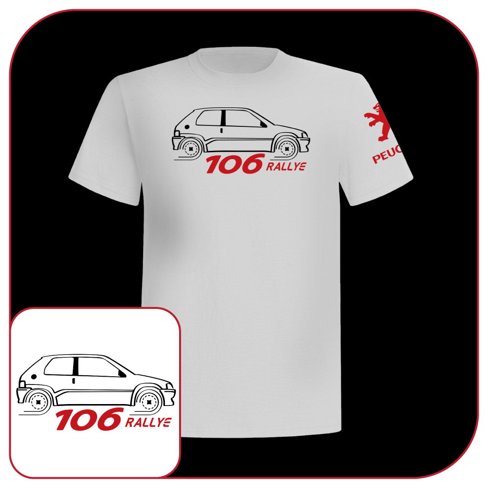 t shirt peugeot 106 rallye france car old motor fashion white ebay. Black Bedroom Furniture Sets. Home Design Ideas